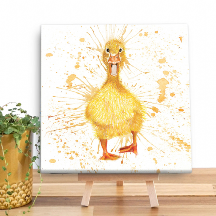 Splatter Duck Mini Wooden Canvas by Katherine Williams